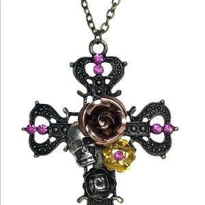 Gothic Vintage Skull Cross Pendant Necklace